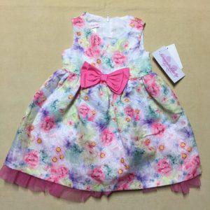 Đầm-xòe-công-chúa-bé-gái-24-tháng-tuổi-không-tay-thắt-nơ-bụng-màu-hồng-họa-tiết-hoa-dễ-thương-size-24M-hiệu-Bonnie-baby-hàng-xách-tay-mỹ