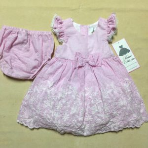 Đầm-xòe-công-chúa-bé-gái-6-9-12-18-24-tháng-tuổi-cotton-tay-áo-ren-thắt-nơ-bụng-sọc-caro-trắng-hồng-size-6-9-12-18-24M-hiệu-Rare-Editions-hàng-xách-tay-mỹ