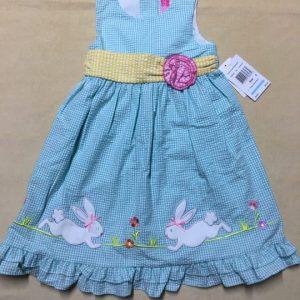 Đầm-xỏe-công-chúa-bé-gái-cotton-không-tay-thắt-nơ-eo-5-7-tuổi-sọc-caro-xanh-size-5-6-6X-hiệu-Goodlad-hàng-xách-tay-mỹ