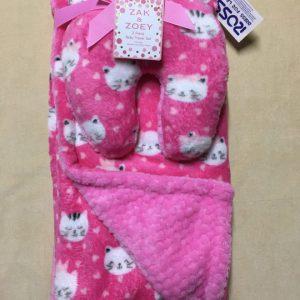 Chănkhănmềm-đắp-và-quấn-gối-kê-cổ-em-bé-hiệu-Zak-Zoey-màu-hồng-có-họa-tiết-hình-mèo-hàng-xách-tay-mỹ